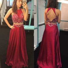 Burgundy Satin Prom Dresses,Two Piece Prom Dresses,Beading Prom Dresses,A-line Long Prom Dresses,Prom Dresses for Teens,Open Back Evening Dresses