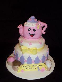 tea party cake...looks like Lydia's Teapot!