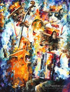 Jamming Cats 1 by Leonid Afremov Handmade oil painting reproduction on canvas for sale,We can offer Framed art,Wall Art,Gallery Wrap and Stretched Canvas,Choose from multiple sizes and frames at discount price. Oil Painting Texture, Oil Painting On Canvas, Canvas Art Prints, Painting & Drawing, Coin D'art, Ouvrages D'art, Art Corner, Contemporary Wall Art, Modern Wall