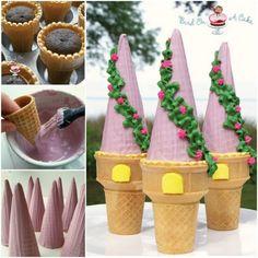 Rapunzel Tower Cones wonderfuldiy Wonderful DIY Amazing Princess Castle Cake