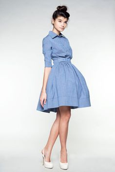 """Blue Woolen Dress  by mrspomeranzDETAILS Your dress will be custom made once you place an order based on your size and fabric choice.  Silhouette: classic """"new look"""" shape with a fitted bodice with buttons and pointed collar, sleeves with cuffs, hourglass-seamed waist and full, gently pleated skirt (with side pockets). There is also a belt included made of the same fabrics. Closes down side with hidden zipper.  Fabric: 100% wool (Italian)."""