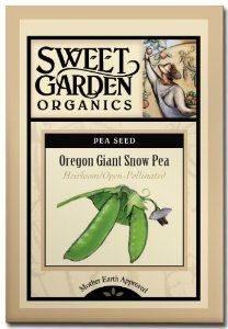 "Oregon Giant Snow Pea - Heirloom Seeds by Sweet Garden Organics. $3.29. 68 days to harvest. 150 seeds - open-pollinated so you can harvest seed and save for next year's planting!. Heavy producer of 4-5"" edible snow pea pods that are ultra sweet and crisp. Often used in Oriental cooking. Easy to grow - and kids love to pick and eat them right off the vine!. Heirloom Seeds. The Oregon Giant snow pea was developed at Oregon State University. Its vine height is 33-36"" ta..."