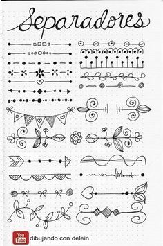 Bullet Journal Doodles: 20 Amazing Doodle Ideas For Beginners & Beyond! - Meraadi These bullet journal doodles and doodle tips and ideas are exactly what you need to learn how to doodle. Perfect for beginners and more advanced doodlers! Bullet Journal School, Bullet Journal Page, Bullet Journal Headers, Bullet Journal Banner, Bullet Journal Notebook, Bullet Journal Inspiration, Bullet Journals, Bullet Journal Dividers, Bullet Journal Doodles Ideas