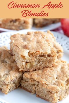 Cinnamon Apple Nut Blondies Cinnamon Apple Nut Blondies -We took all the deep, rich buttery caramel flavor that you'd expect from a and added in fresh diced and chopped for a deliciously different twist. These sweet treats celebrate the flavors of Köstliche Desserts, Delicious Desserts, Apple Dessert Recipes, Simple Apple Recipes, Cooking Apple Recipes, Easy Apple Desserts, Cooking Tips, Apple Deserts, Holiday Recipes
