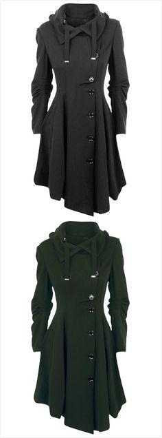 Modern Button Closure Asymmetrical Hem Black Coat