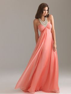Chiffon Beaded Halter Strap Empire Prom Dress with Rouched Bust Vestidos  Color Coral e15d64863fab