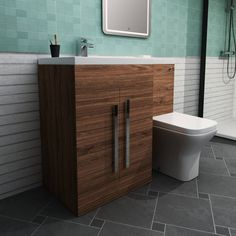IN STOCK: best prices on Calm Walnut Left Hand Combination Vanity Unit Set with Toilet - choose between 78 Back to wall toilet White Vanity Unit, Sink Vanity Unit, Bathroom Vanity Units, Gray Vanity, Combination Vanity Units, Concealed Cistern, Back To Wall Toilets, Crushed Stone, Basin Taps