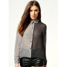 Stripe and Polka Dot Contrast Shirt [FDBI00163]- US$ 49.99 - PersunMall.com