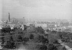 Looking SE from the #Melbourne Exhibition Building Dome in 1890 towards intersection of Victoria and Nicholson Sts. At Rear, St Patrick's Cathedral will not aquire its spires until the late 1930s. Exhibition Building, Melbourne Victoria, Houses Of Parliament, Photographic Studio, Urban Planning, Historical Photos, Old Photos, Paris Skyline, City Photo