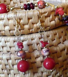 "Red Gold Earrings // Wooden Beads Glass // Gold Filled Ear Wires // ""Hot Sauce"" // SRAJD"