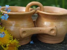 Gliniane dwojaczki z kwiatkami #pottery #clay