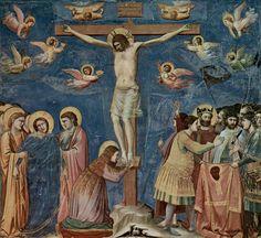 """Giotto - """"La Crucifixion"""" (1303-1306) - Peinture à fresque, 200 x 185 cm (détail) - Église de l'Arena, chapelle des Scrovegni, Padoue, Italie."""