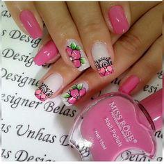 Flower Nail Designs, Nail Art Designs, Nail Polish Art, Super Nails, Flower Nails, Creative Nails, Nail Arts, Pretty Nails, Acrylic Nails