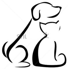 Dog and Cat Tattoo Silhouette // Chat et chien Cat And Dog Tattoo, Dog Tattoos, Cat Tattoo, Sleeve Tattoos, Tatoos, Tattoo Horse, Trendy Tattoos, Small Tattoos, Flower Tattoos