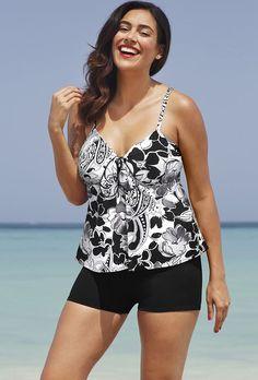 8e64e7de4d Shore Club Moonstruck Plus Size Tie Front Boy Shortini Swimsuits For All,  Beach Attire,