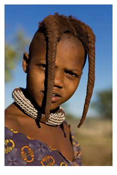 Africa   Portrait of a young Himba girl with braided hair and traditional cane necklace, Namibia   © Andre Roberge #braids