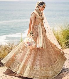 Real Bride in stunning Sabyasachi Lehenga The Leena in a stunning lehenga for her wedding in Indian Bridal Outfits, Indian Bridal Fashion, Indian Bridal Wear, Indian Dresses, Bridal Dresses, Bridal Hijab, Hijab Bride, Indian Wear, Indian Lehenga
