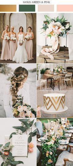 Rustic peach, gold and green wedding mood board wedding colors green, wedding color 2017 Gold Wedding Colors, Wedding Flowers, Peach Wedding Theme, Wedding Bouquets, Wedding Dresses, Wedding Bridesmaids, Green Wedding Themes, Wedding Color Schemes Fall Rustic, Spring Wedding Themes