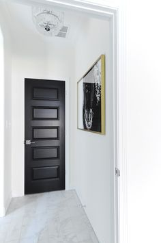 Living with Black Interior Doors: 6 Month Update Black interior doors make a bold statement against white walls in this modern home with traditional touches. - Add Modern To Your Life Painted Interior Doors, Black Interior Doors, Door Design Interior, Black Doors, White Doors, Painted Doors, White Walls, Interior Decorating, Interior Sketch