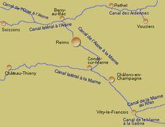 Das Kanalsystem in der französischen Region Champagne-Ardenne
