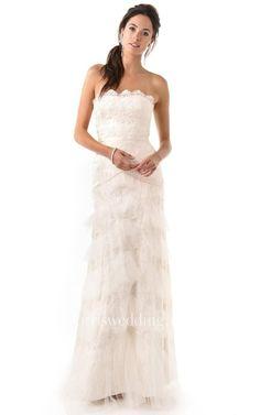 #Valentines #AdoreWe #Dorris Wedding - #Dorris Wedding Long Strapless Ruffled Sheath Lace Dress - AdoreWe.com