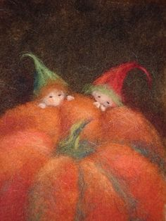 Pumpkin Gnomes Wool Picture