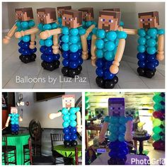 Minecraft Party Decorations, Balloon Decorations Party, Birthday Party Decorations, Minecraft Birthday Party, 6th Birthday Parties, Birthday Fun, Minecraft Balloons, Mindcraft Party, Kids Party Themes