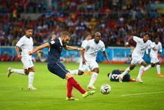 Karim Benzema scoring his second goal of the match and France's third.