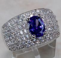 PURE DECADENCE! 3.5 CTW AMETHYST & WHITE TOPAZ SOLITAIRE THICK BAND SET IN 925 SS! SZ. 7~SALE!  $69.99