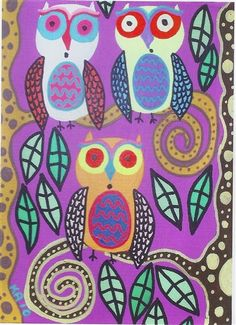 Tree Owls 1 by Karla Gerard - a needlepoint kit from The Silk Mill complete with all the silks.