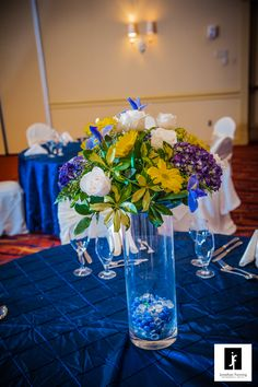 Royal Blue and yellow wedding.  Grand Ballroom, Tampa Westshore Marriott