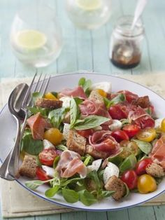 Käsesalat, Bayonne-Schinken, Mozzarella - Cuisine Soupe et salade - Paleo Recipes, Cooking Recipes, Cheese Salad, Summer Recipes, Food Inspiration, Love Food, Food And Drink, Healthy Eating, Nutrition