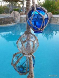 "30"" String Glass 6 Buoy Float Nautical Ball Curio Bouys Roped Garden Decor | eBay"