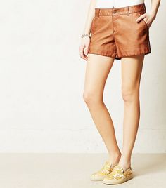 Quilted Vegan Leather Shorts via @WhoWhatWear