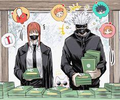 Makima • Satoru Gojou • Chainsaw Man • Jujutsu Kaisen • Crossover Anime Couples Manga, Anime Manga, Anime Art, Fanarts Anime, Anime Characters, Fictional Characters, Juju On That Beat, Thought Bubbles, Anime Crossover