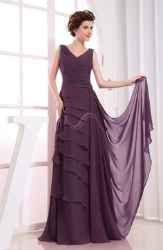 Plum Romantic Sleeveless Zip up Chiffon Floor Length Tiered Bridesmaid Dresses