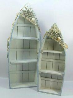 Shabby style, seaside/nautical theme, set of two boat shape shelf units, shells