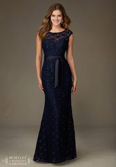Mori Lee 121 is a cap sleeve Beaded Lace long bridesmaid dress with a deep V back.  Matching Tie Sash included.