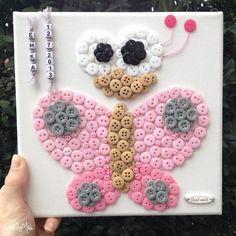 Gombíkový obraz - Motýľ Perla