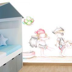 Murales infantiles personalizables, diseños exclusivos, efecto pintado a mano, añade el nombre deseado, packs textil a juego disponibles, Made in Spain