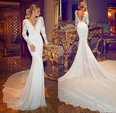 2015 New Fashionable Chiffon Lace Deep V Neck Long Sleeve Open Back Sexy Berta Wedding Dresses Bridal Gown With Long Train: