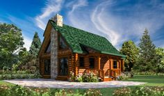 "Is this the log home image that comes to mind when somebody says, ""Log Home""? It is for a lot of people. Featuring a covered front porch, stone fireplace, loft, and a cozy interior. Let us custom design a Blue Stone for you and your family so you can start living your dream. Please visit... Read more"