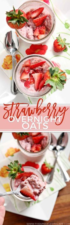 Prepare breakfast the night before by mixing up oats strawberries and milk in a mason jar then letting them hang out overnight to create these delicious Strawberry Overnight Oats. Enjoy cold the next morning topped with fresh strawberries (and some dar Strawberry Overnight Oats, Easy Overnight Oats, Low Calorie Overnight Oats, Mason Jar Meals, Meals In A Jar, Oats Recipes, Cooking Recipes, Healthy Recipes, Brunch Recipes