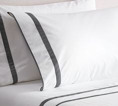 Morgan Banded 400-Thread-Count Extra Pillowcases, Set of 2, Standard, Flagstone Gray