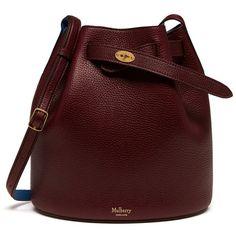 Mulberry Abbey (6 750 SEK) ❤ liked on Polyvore featuring bags, handbags, red handbags, drawstring bucket bag, real leather handbags, leather drawstring purse and drawstring handbags