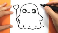 How to draw and color a cute ghost - easy drawing tutorial - halloween Halloween Things To Draw, Easy Halloween Drawings, Fall Drawings, Easy Drawings Sketches, Halloween Canvas, Cartoon Drawings, Halloween Ideas, Drawing Videos For Kids, Easy Drawings For Beginners