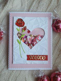 "Katie Palmer/ ""XOXO"" Shaker card by Katie. MFT- Blueprints Roses in Bloom. WRMK Next Level-""Gemstone""embossing folder. Diy Holiday Cards, Diy Valentines Cards, Valentine Greeting Cards, Greeting Cards Handmade, Diy Cards, Holiday Fun, Birthday Presents For Mom, Handmade Birthday Cards, Diy Birthday"