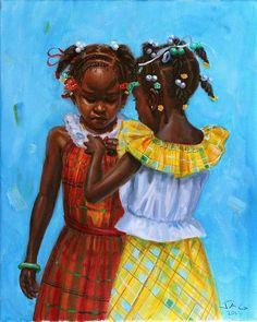 Black Girl Art, Black Women Art, Art Girl, African Drawings, African Art Paintings, Arte Black, Pastel Photography, Haitian Art, Saint Lucia