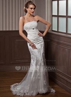 Wedding Dresses - $216.99 - Mermaid Strapless Court Train Tulle Charmeuse Wedding Dress With Ruffle Lace Crystal Brooch (002012589) http://jjshouse.com/Mermaid-Strapless-Court-Train-Tulle-Charmeuse-Wedding-Dress-With-Ruffle-Lace-Crystal-Brooch-002012589-g12589