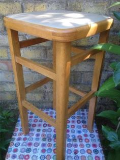 Vintage Retro Tall Wooden Stool 60s 70s Era Vinyl Seat Kitchen Dining Cafe  Tea
